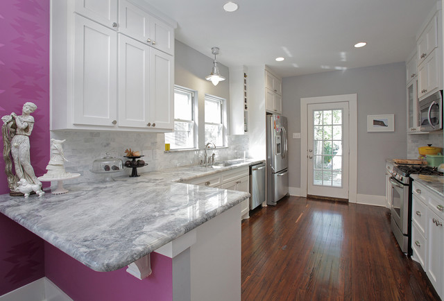 Eclectic Enclosed Kitchen Photo In Dallas With Shaker Cabinets White Granite Countertops