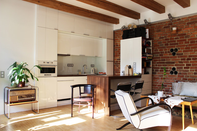 My Houzz: DIY Love Pays Off in a Small Prague Apartment industrial-kitchen