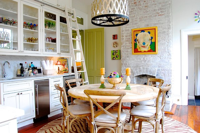My houzz colorful eclectic style in a traditional new for Eclectic dining room decorating ideas