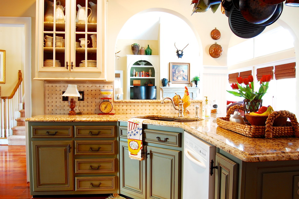 Example of a french country kitchen design in New York