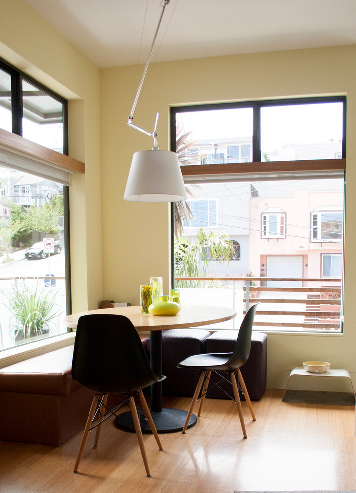 Inspiration for a contemporary light wood floor eat-in kitchen remodel in San Francisco