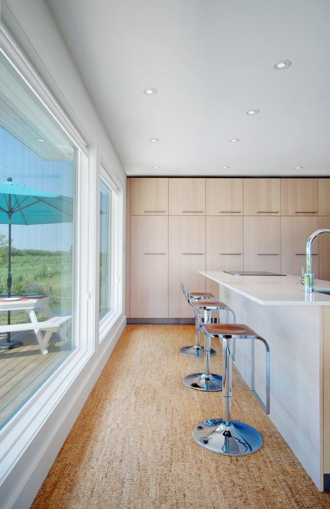 Trendy kitchen photo in Toronto with an undermount sink, flat-panel cabinets and light wood cabinets