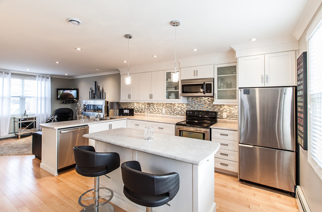 My houzz open concept apartment above retail in downtown for Kitchen room images