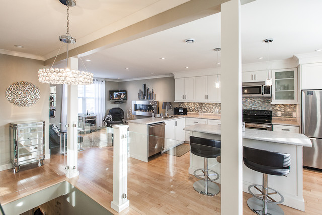 My houzz open concept apartment above retail in downtown - Houzz cocinas ...