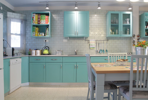 Kitchen Cabinet Colors Is There A World Beyond White AG - Teal and grey kitchen