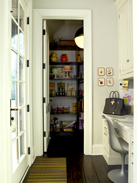 French Country - custom built pantry with desk next to ...