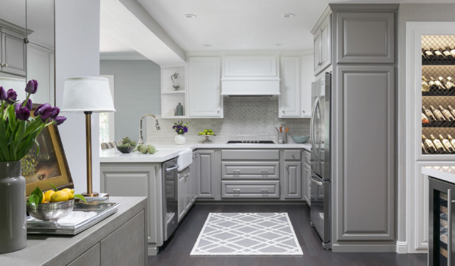 Kitchen Lightens Up With Two Tone Cabinets