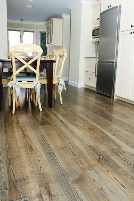 Natural Ash Wood Flooring Contemporary Kitchen Boston by