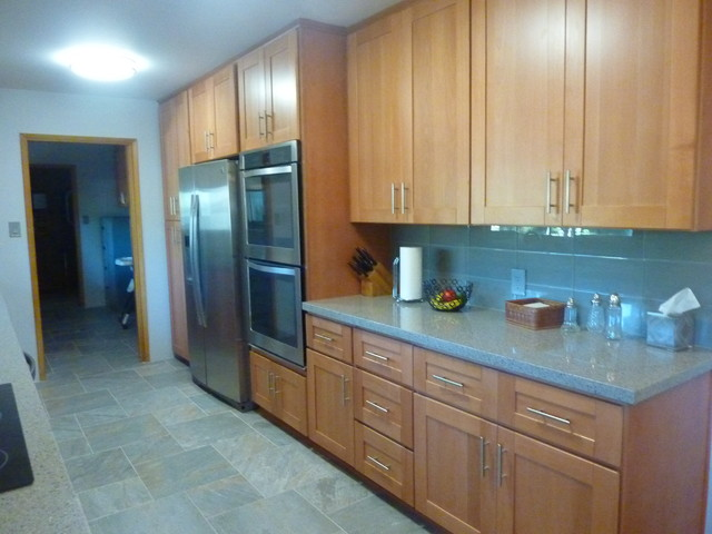 Natural Beech Wood Shaker Galley Refrigerator Wall After Craftsman Kitche