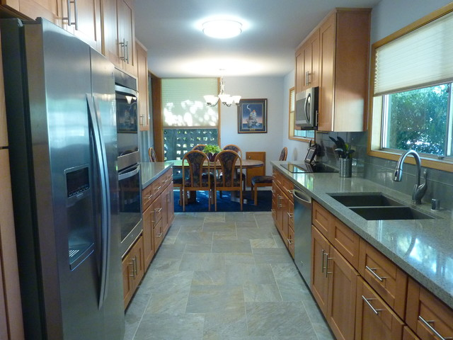 Natural Beech Wood Shaker Galley Kitchen - Craftsman - Kitchen - Orange County - by The Cabinet Lady