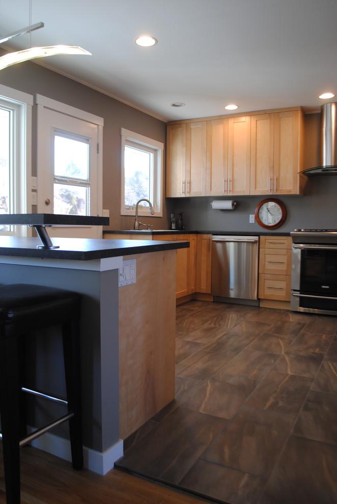 Natural Birch Shaker Kitchen - Contemporary - Kitchen ...