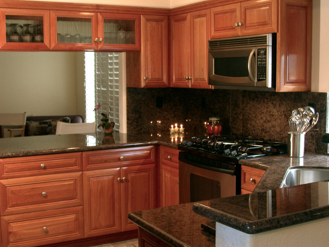 Natural Cherry Wood Kitchen Cabinetry Traditional