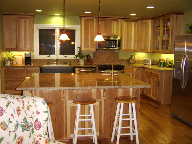 Hickory Kitchen Cabinets And Blue Green On Yellow Shades Of For