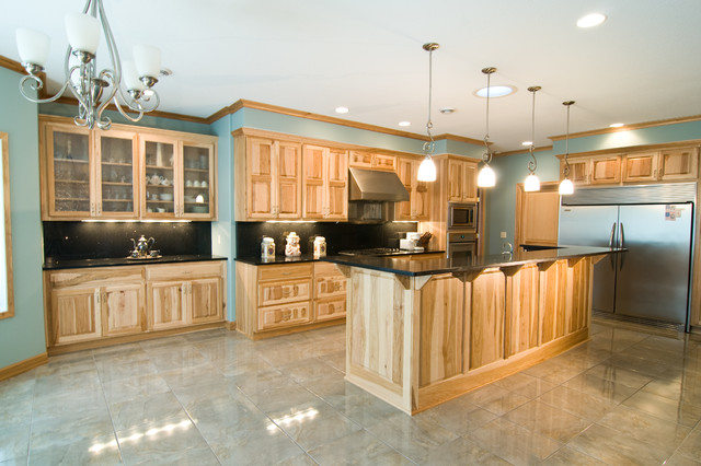 Natural Hickory Kitchen - Traditional - Kitchen - Minneapolis - by Country Cabinets
