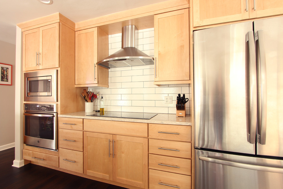 Natural Maple Cabinets in Open Kitchen with Quartz ... on Light Maple Cabinets With White Countertops  id=35480