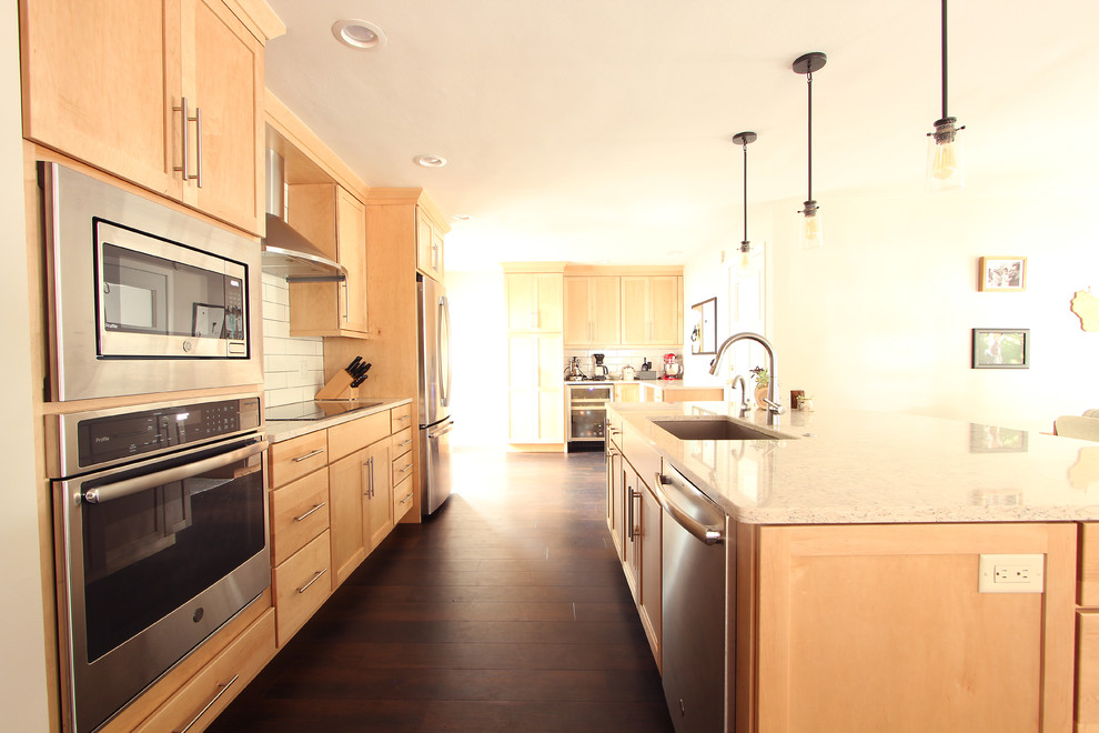 Natural Maple Cabinets in Open Kitchen with Quartz ... on Natural Maple Maple Cabinets With Quartz Countertops  id=14985