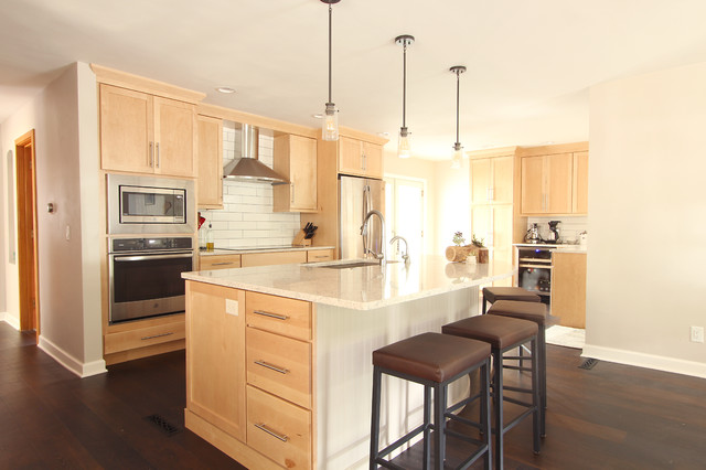 Natural Maple Cabinets In Open Kitchen With Quartz Countertops Transitional Kitchen Other By Denise Quade Design Houzz