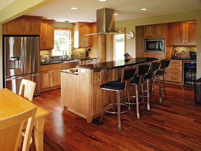 Elegant Natural Red Birch Contemporary Kitchen