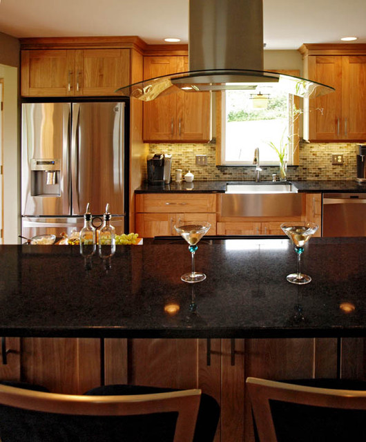 Contemporary Red Kitchen: Natural Red Birch