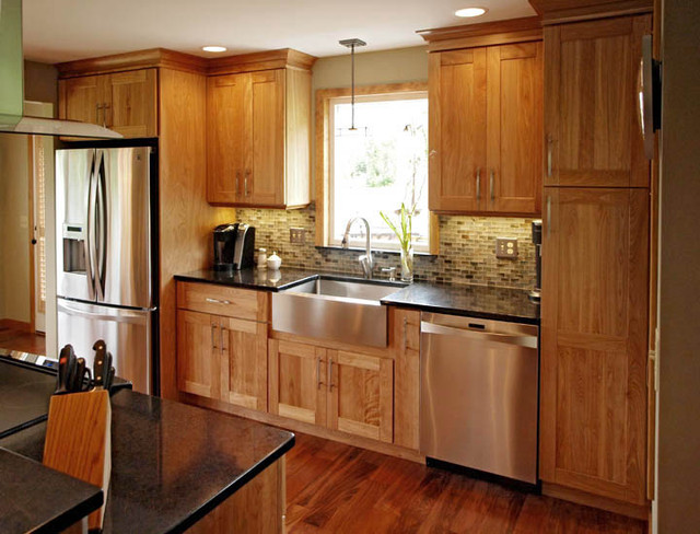 Natural red birch contemporary kitchen burlington for Birch kitchen cabinets