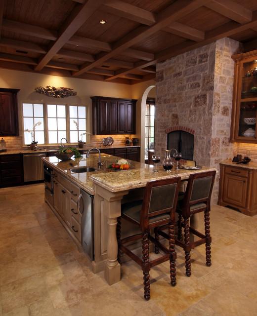 Mediterranean Kitchen Ideas: Natural Tuscan Inspired Kitchen With Barstools