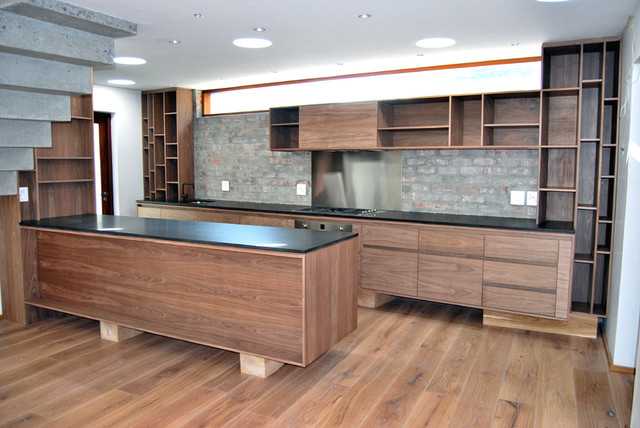natural walnut kitchen - contemporary - kitchen -spotlight