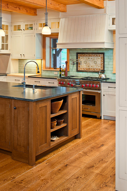 White Kitchen Oak Floor natural white oak kitchen wood flooring - traditional - kitchen