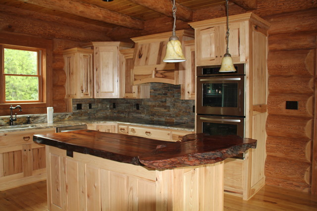 Natural wood countertop traditional kitchen for Natural edge wood countertops