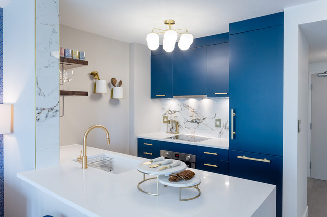 Navy Blue And Gold Kitchen Contemporary Kitchen