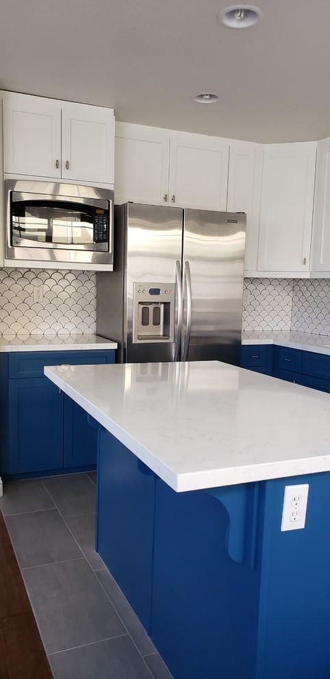 Navy Blue White Kitchen Renovation Transitional San Diego By Groysman Construction Houzz