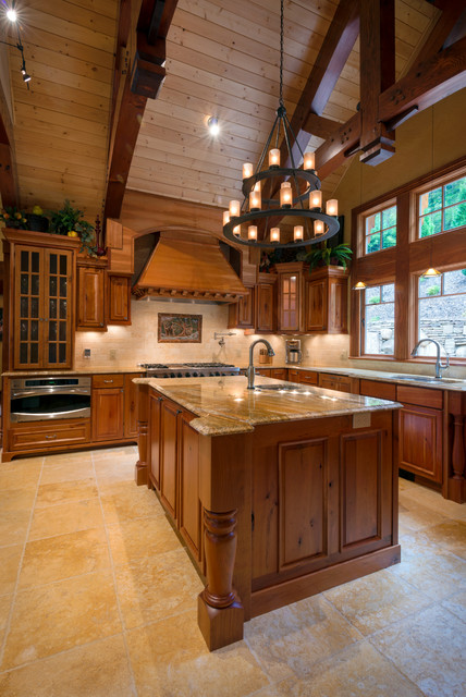 Nc mountain lake home for Rustic lake house kitchens