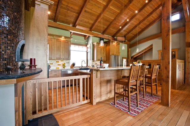 High Quality Arts And Crafts Kitchen Photo In Calgary With A Farmhouse Sink, Medium Tone  Wood Cabinets
