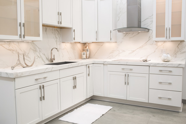 Inspiration For A Contemporary L Shaped Kitchen In Richmond With Single Bowl Sink
