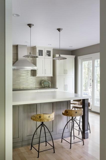 Neutral Wave Kitchen Tile Backsplash Contemporary