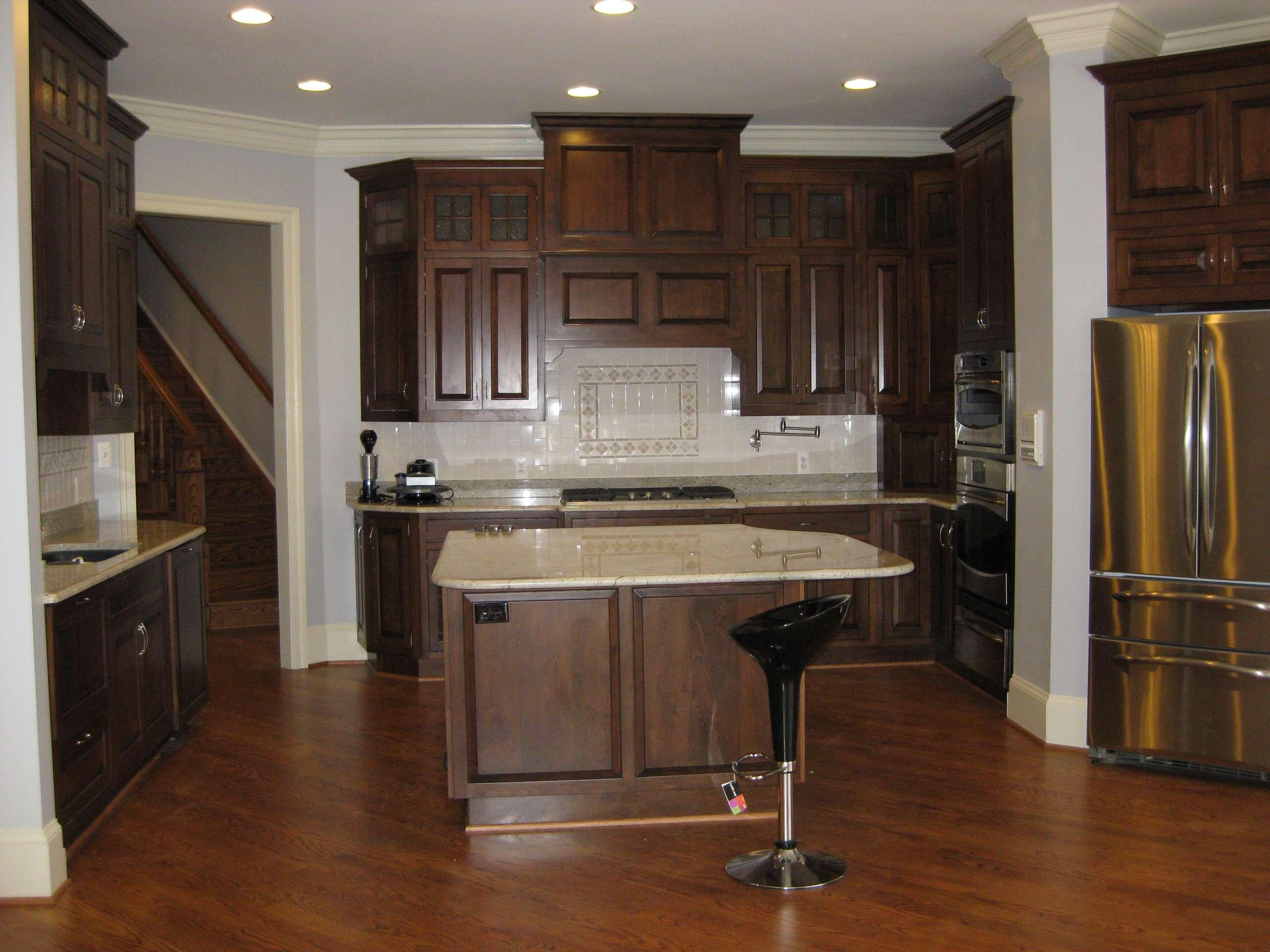 new build kitchen Cosmic White Granite, dark brown cabinets- Falls Church