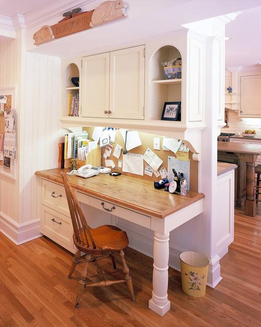 New canaan ct kitchen desk area for Built in kitchen desks ideas