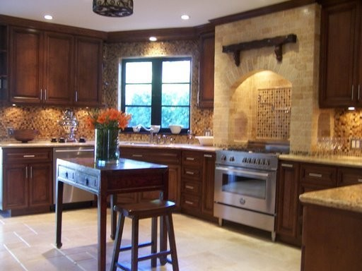 New construction spanish style house kitchen staging