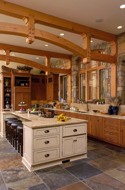 New Custom Home Natural Surroundings Rustic Kitchen