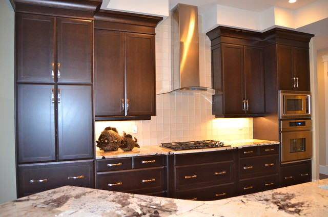 New Custom Maple Cabinets...dark stain - Traditional - Kitchen ...
