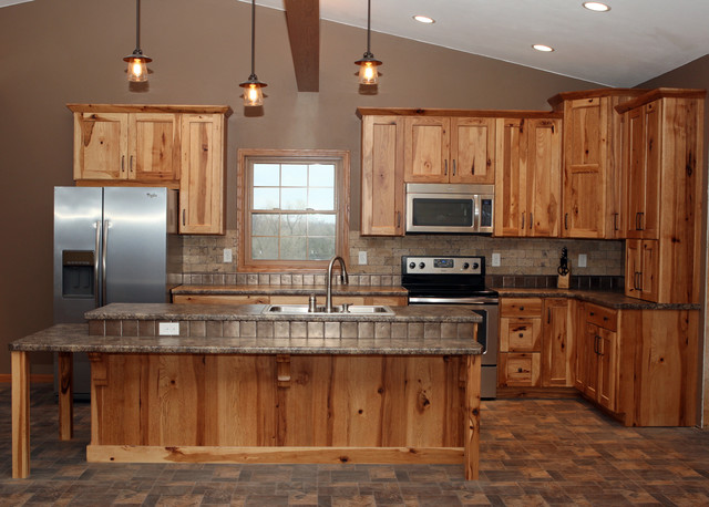 New home construction rustic rustic kitchen other for Kitchen cabinets rustic