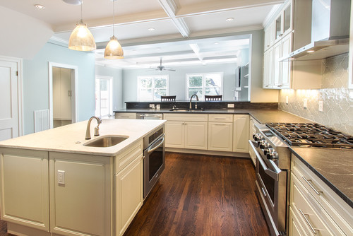 kitchen with large island and walls painted with benjamin moore quiet moments