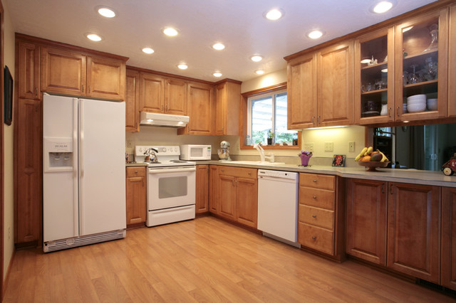 New Kitchen Cabinets and Engineered Flooring traditional-kitchen