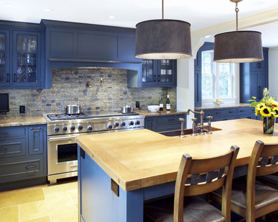 Traditional Kitchen Houzz Blue Cabinets On Remodelista