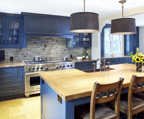 Navy Blue Lower Cabinets Western Living Magazine Indigo Kitchen Houzz