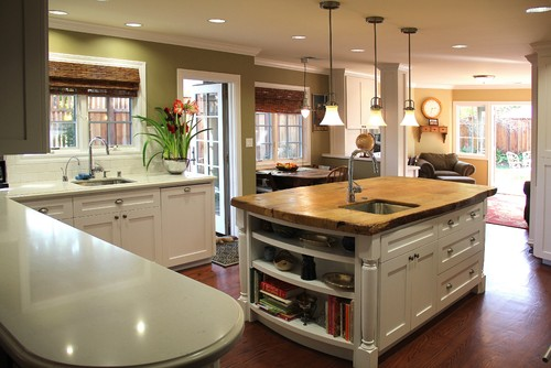 Kitchen island wood surface