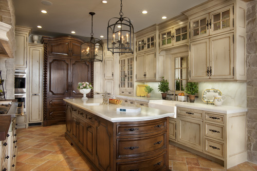 What is the distressed white paint color on the cabinets - Cream distressed kitchen cabinets ...