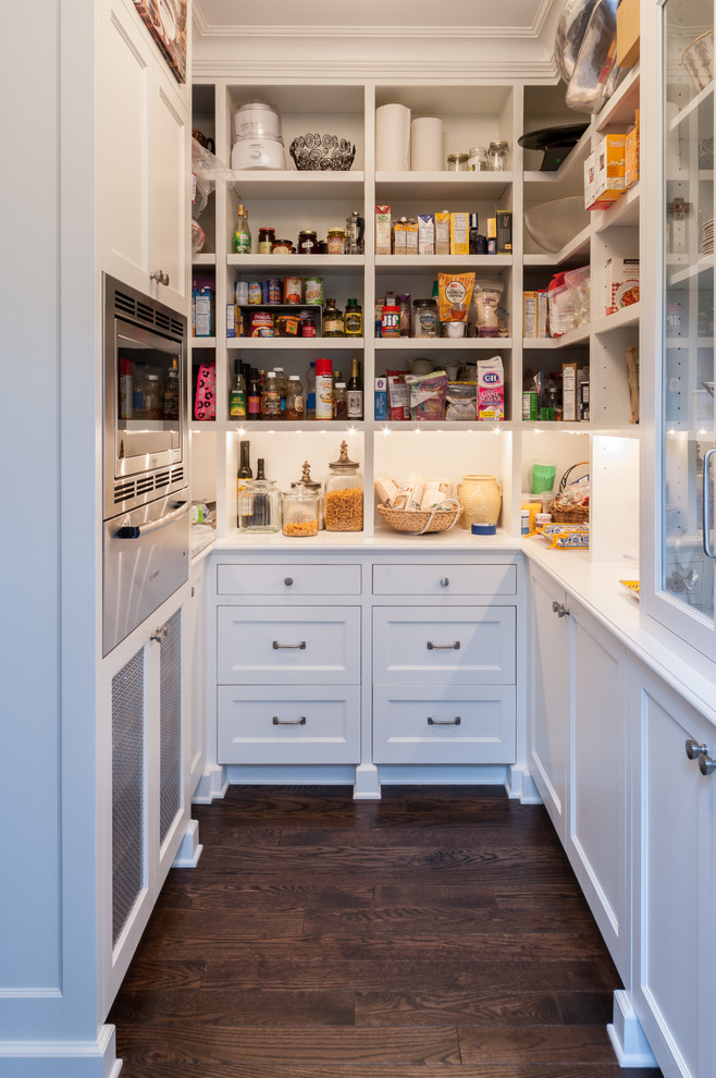 Kitchen pantry - traditional dark wood floor kitchen pantry idea in Seattle with recessed-panel cabinets, white cabinets and stainless steel appliances