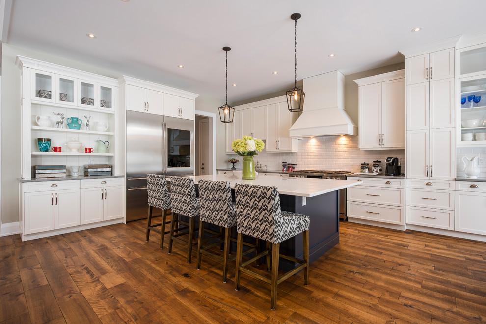 New Tech Custom Home Transitional, Aurora White Kitchen Cabinets