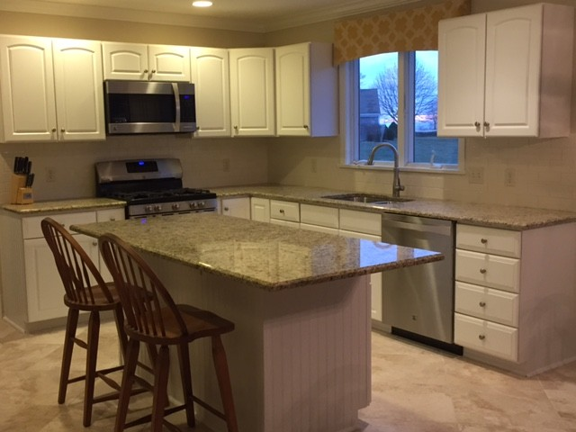 kitchen cabinets light new venetian gold granite countertop 3066