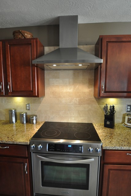 New Venetian Gold Granite Countertop With Tile Backsplash
